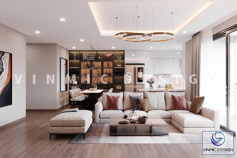 Thiết kế phòng khách chung cư hiện đại đầy màu sắc