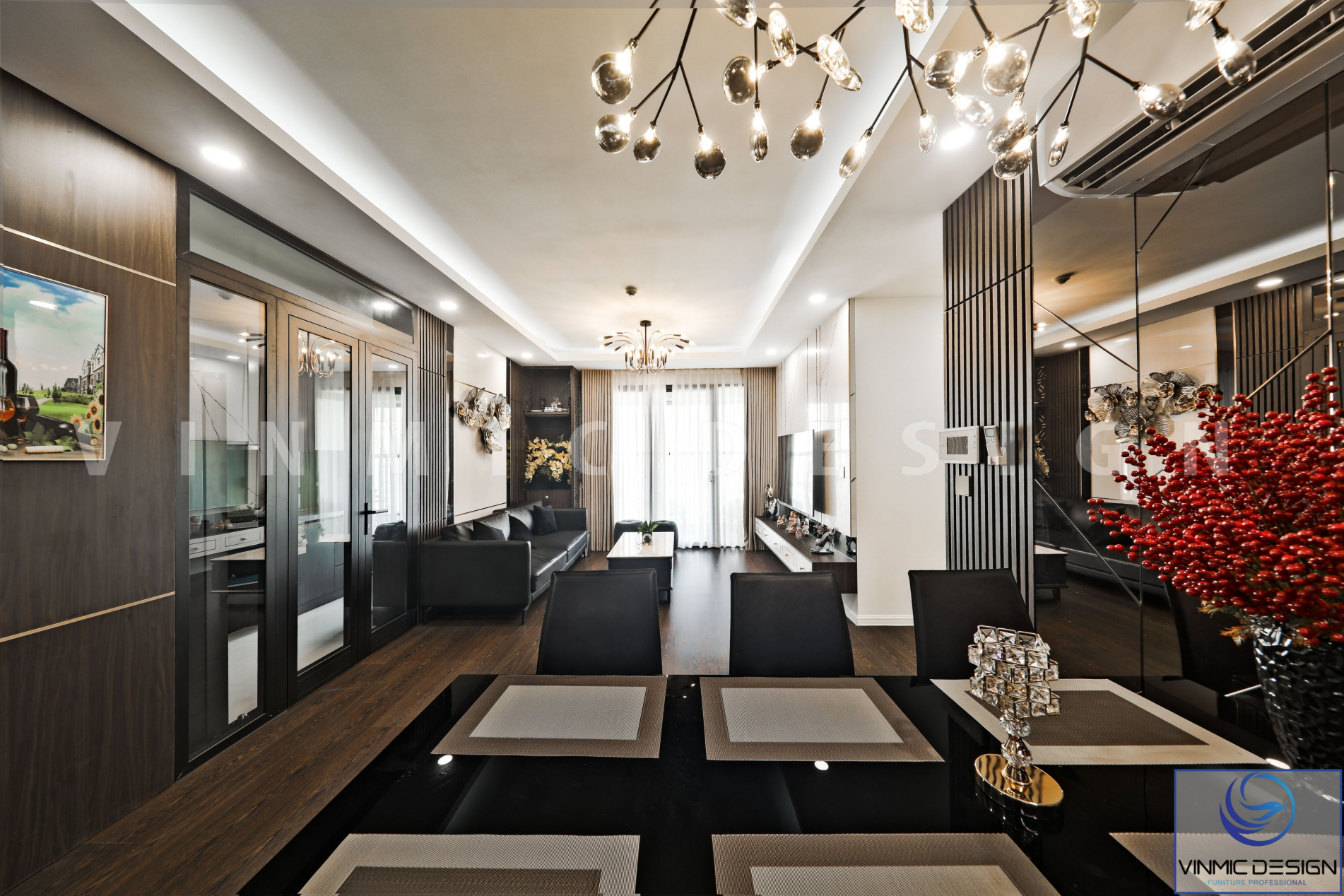 Thiết kế phòng khách đậm chất hiện đại với chất gỗ công nghiệp