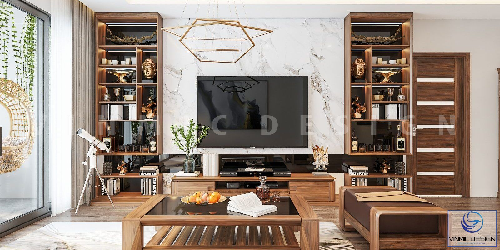 Thiết kế nội thất phòng khách bằng gỗ óc chó