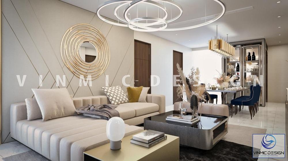 Thiết kế nội thất phòng khách sang trọng cho chung cư cao cấp