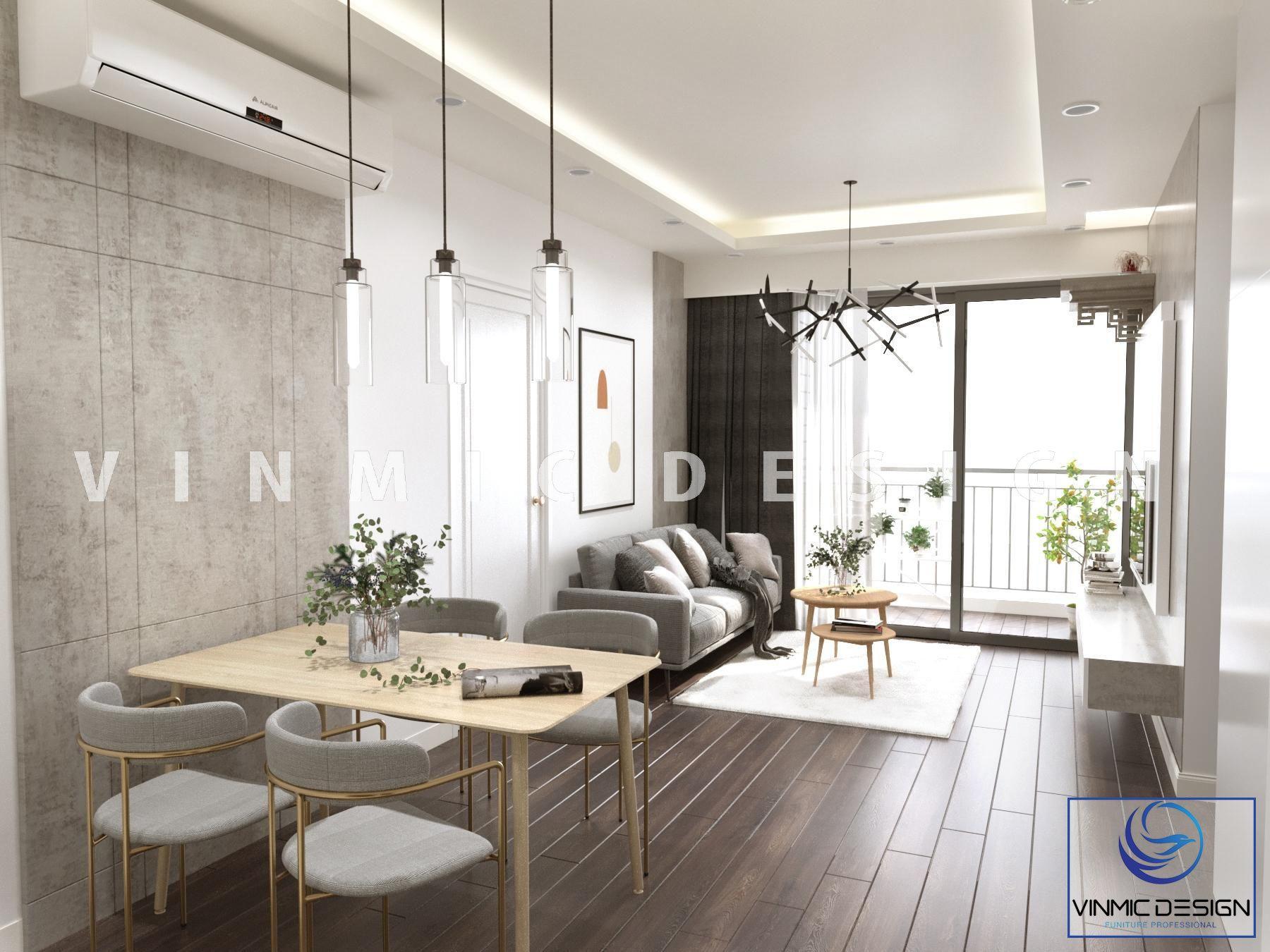 Thiết kế nhẹ nhàng, hiện đại của phòng khách