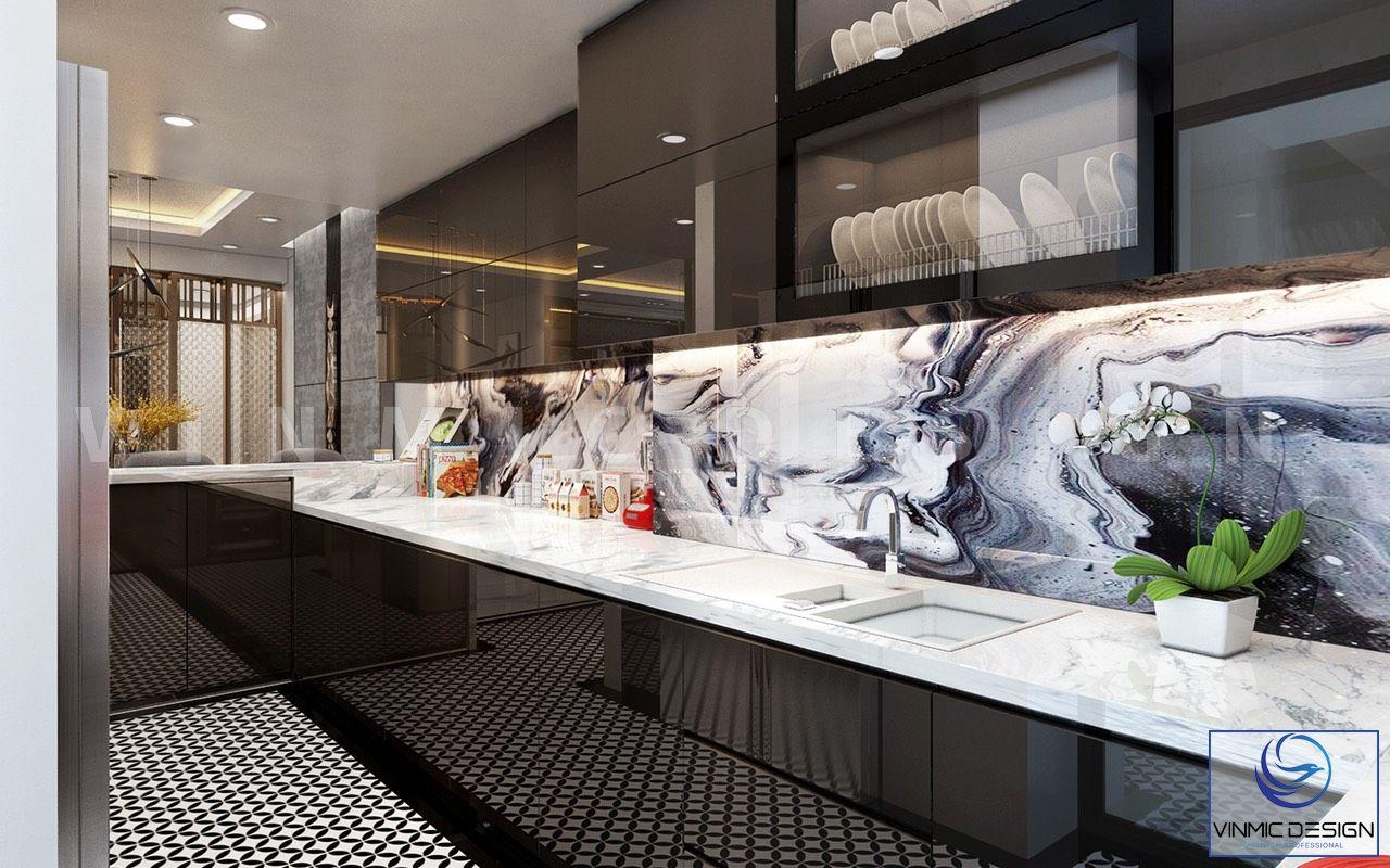 Thiết kế phòng bếp đẹp mắt hiện đại, bề mặt acrylic sáng bóng