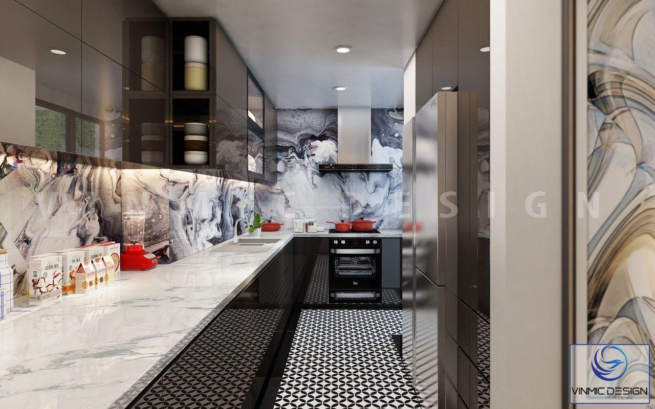 Không gian phòng bếp hiện đại với bề mặt Acrylic