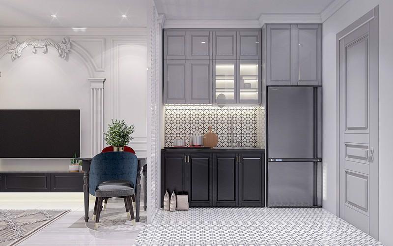 Thiết kế nội thất phòng bếp tân cổ điển với diện tích hẹp