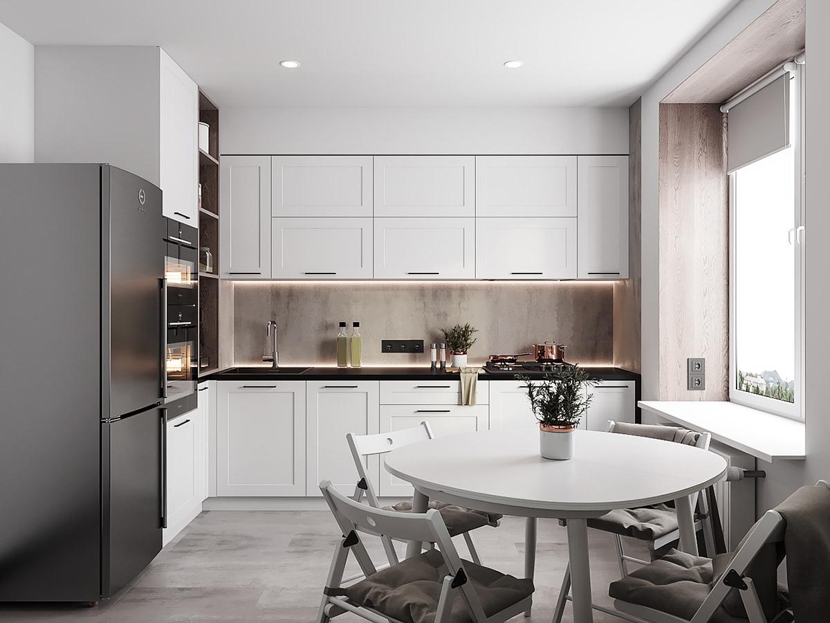 Thiết kế phòng bếp với tông màu trắng chủ đạo