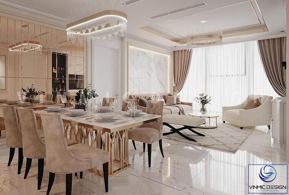 Thiết kế phòng khách tân cổ điển nhận ánh sáng từ thiên nhiên