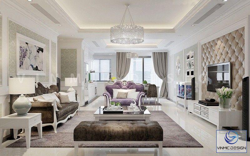 Phòng khách chung cư rộng rãi, thoáng đãng