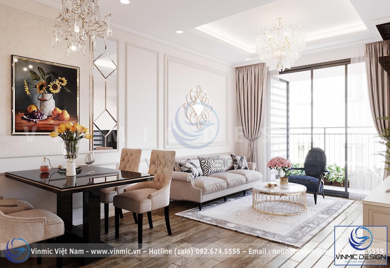 Thiết kế nội thất phòng khách hẹp