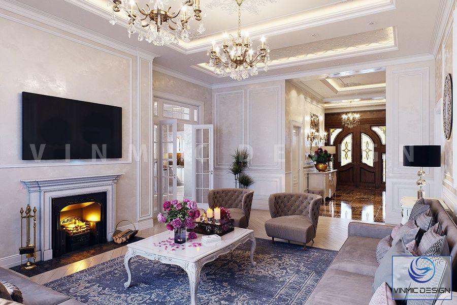 Thiết kế phòng khách đậm chất tân cổ điển vớ bộ sofa nhập khẩu đẳng cấp