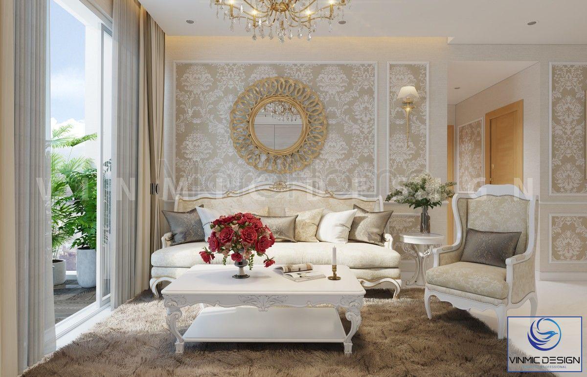 Giấy ốp tường với hoa văn đẹp, tạo điểm nhấn cho phòng khách