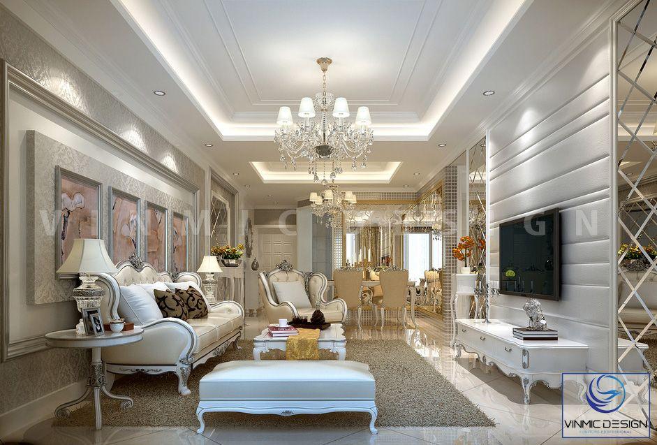 Thiết kế phòng khách rộng rãi, phong cách tân cổ