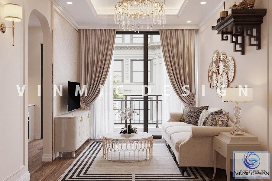 Không gian hẹp của phòng khách phong cách tân cổ điển