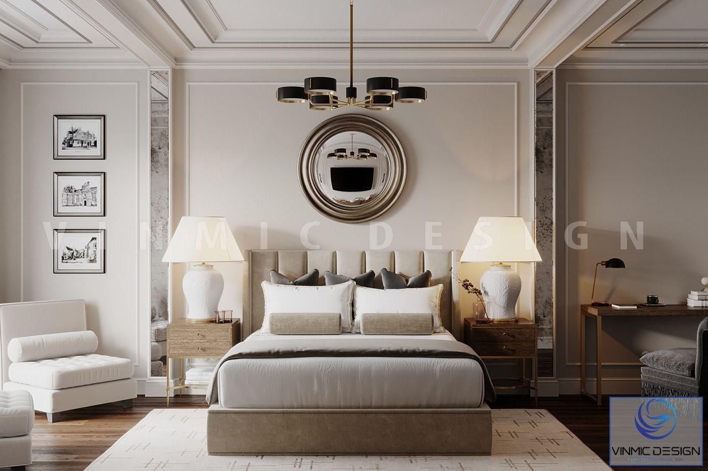 Phòng ngủ với đường nét phào chỉ tân cổ