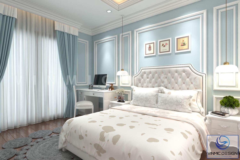 Tông màu xanh tươi mới, tạo không gian phòng ngủ đẳng cấp
