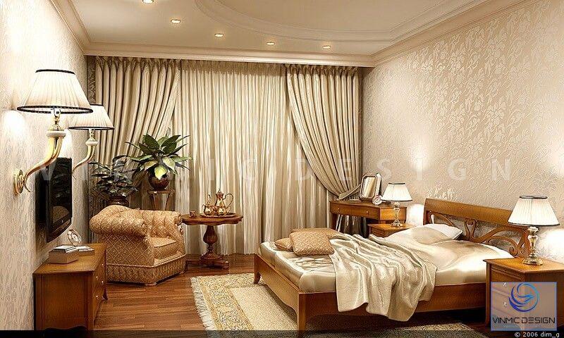 Không gian lãng mạn của phòng ngủ với chất gỗ tự nhiên