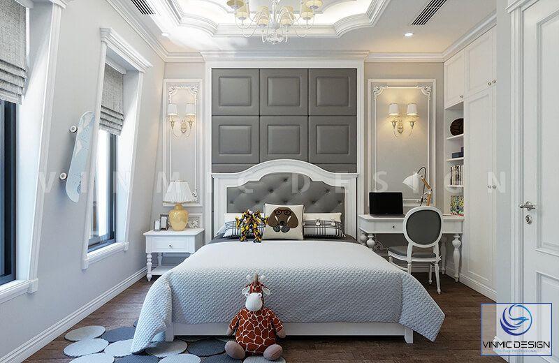 Phong cách tân cổ điển được thể hiện ở phòng ngủ các con