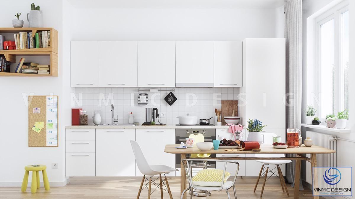 Thiết kế tủ bếp với tông màu trắng hiện đại
