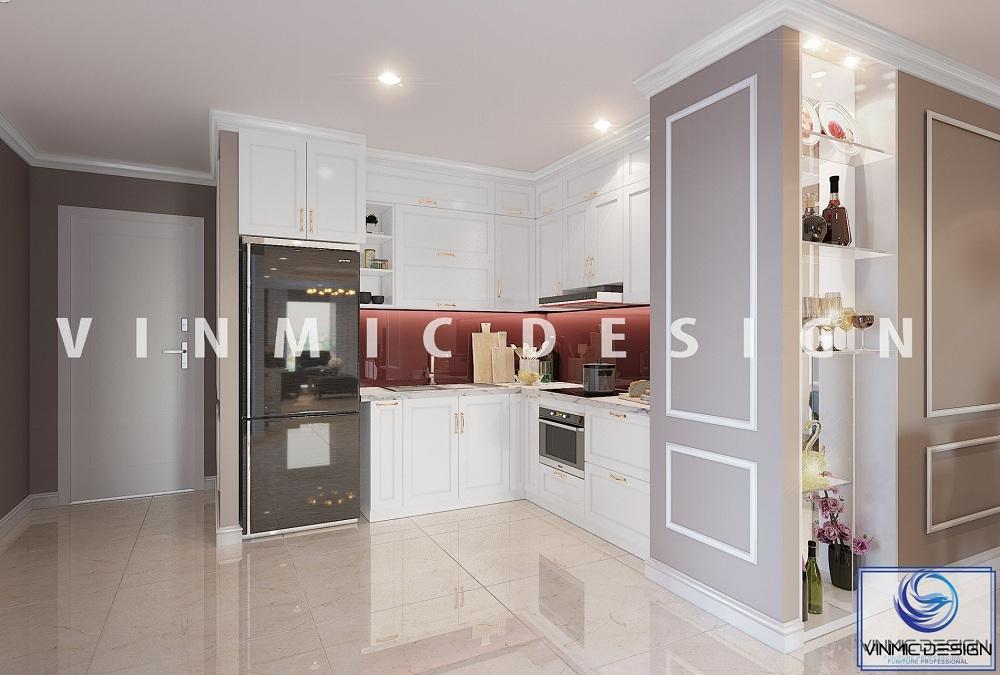 Phòng bếp chung cư phong cách tân cổ được thể hiện gọn gàng với diện tích hẹp