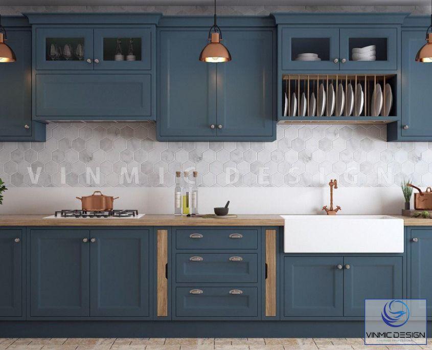 Thiết kế nội thất phòng bếp với màu xanh tạo điểm nhấn