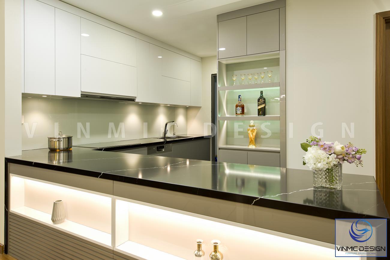 Mẫu thiết kế tủ bếp hiện đại kết hợp tủ rượu tiện ích