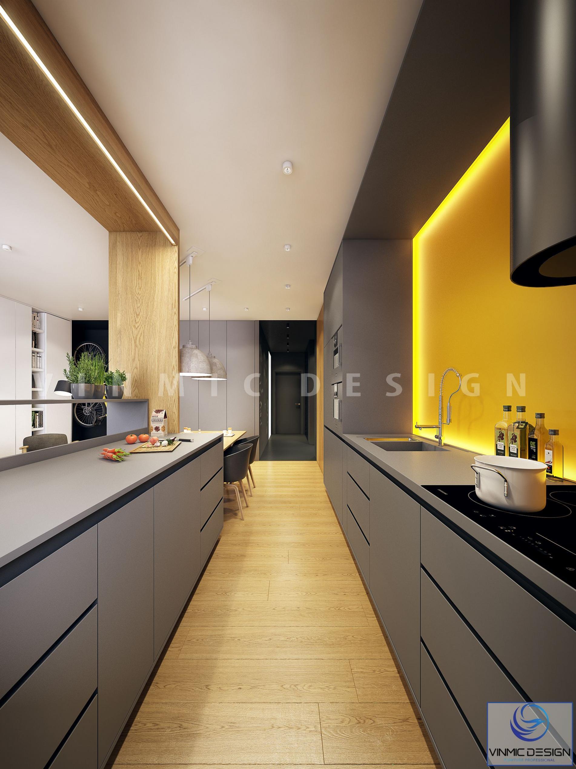 Màu sắc thiết kế phòng bếp, tạo điểm nhấn