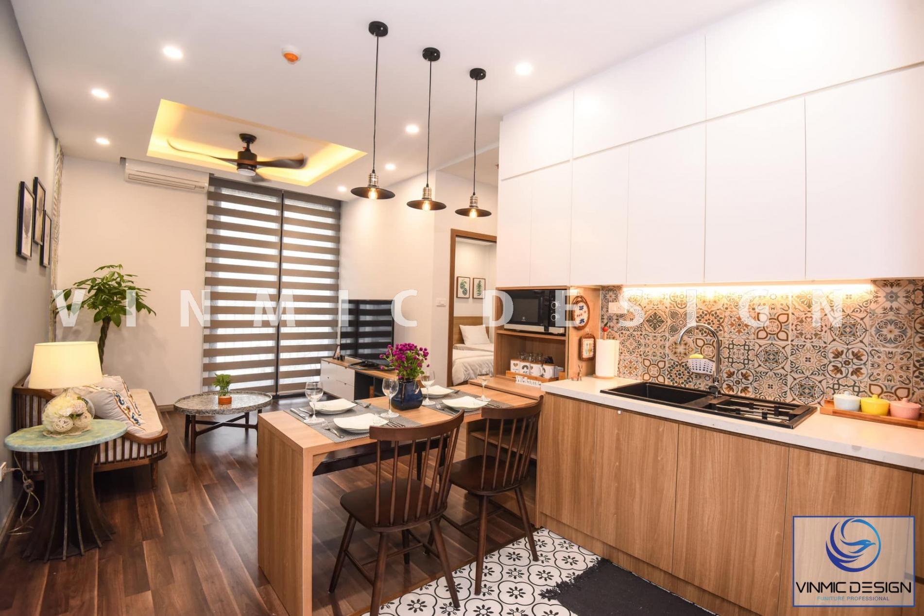 Thiết kế tủ bếp hiện đại với không gian vàng ấm