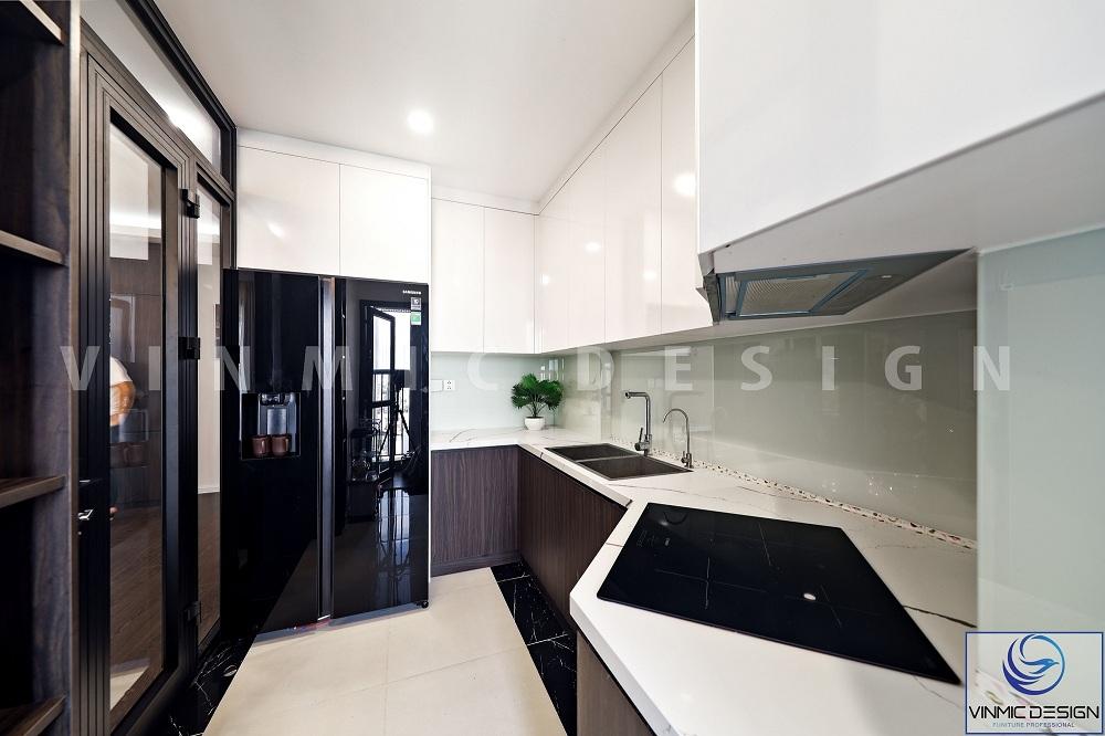 Phong cách hiện đại cho tủ bếp với diện tích nhỏ, chất liệu bề mặt gỗ acrylic