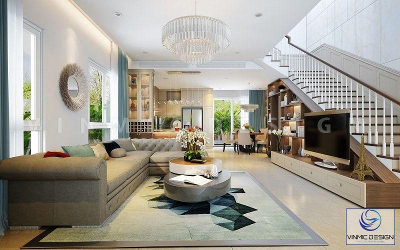 Thiết kế phòng khách biệt thự đầy màu sắc