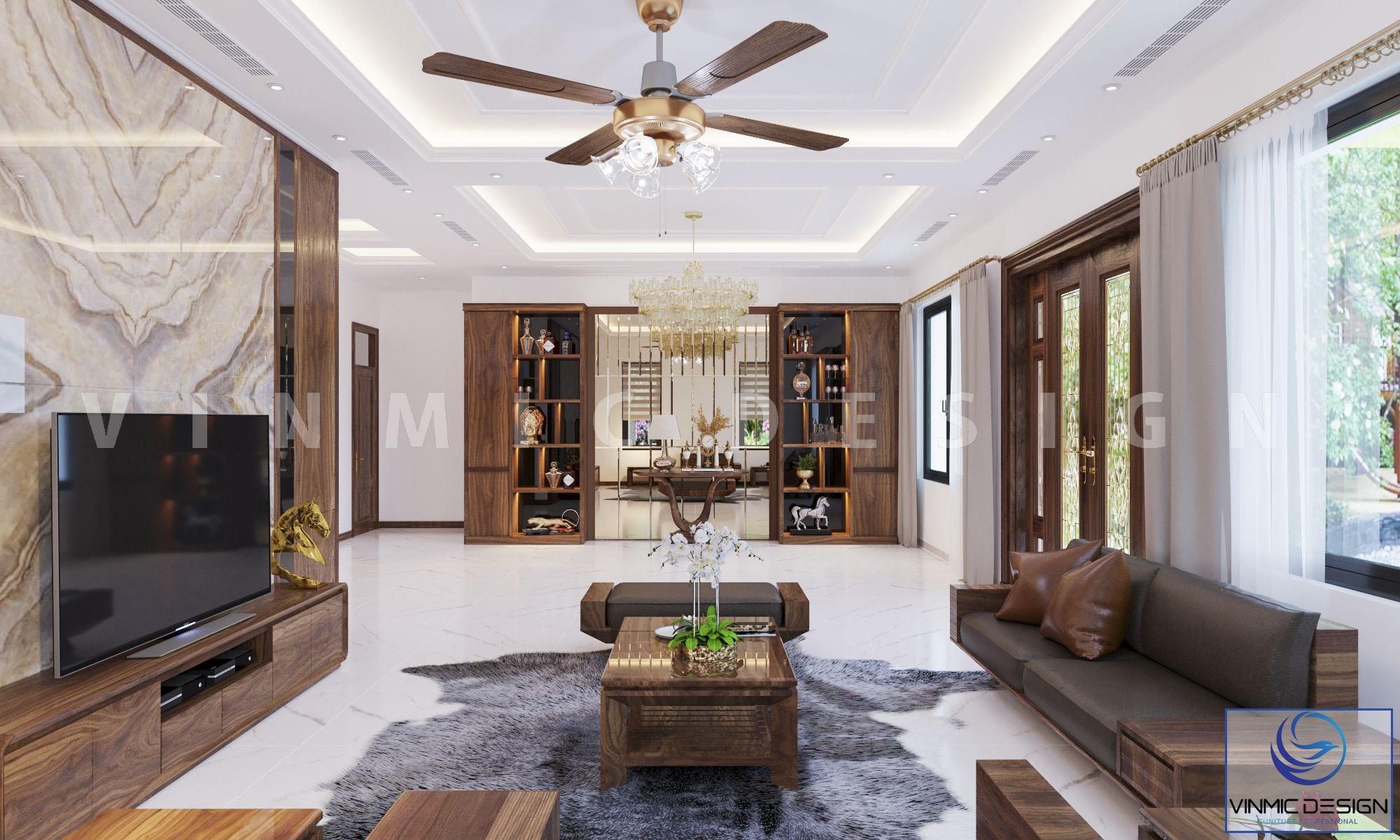 Thiết kế phòng khách biệt thự hiện đại, với chất gỗ óc chó tự nhiên
