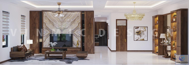 Không gian rộng rãi phòng khách, với lối thiết kế hiện đại