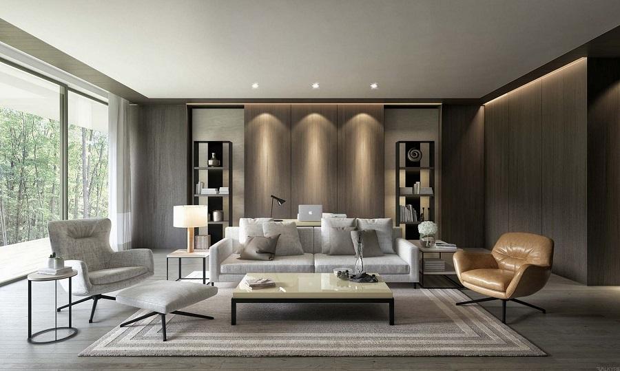Vách ốp gỗ công nghiệp và bộ sofa làm nổi bật phòng khách