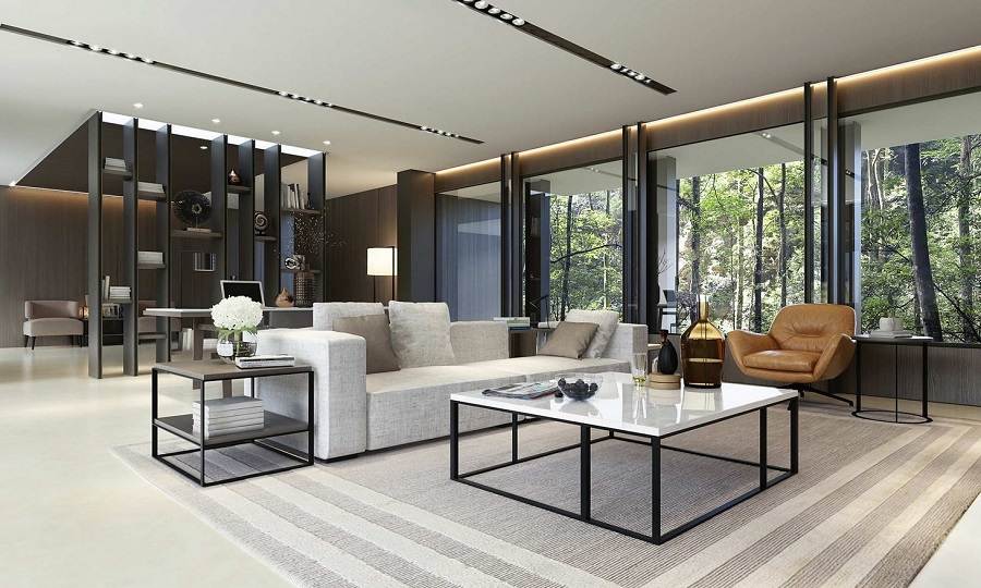 Phòng khách biệt thự được thiết kế với cửa hệ thống kính, gần gũi thiên nhiên