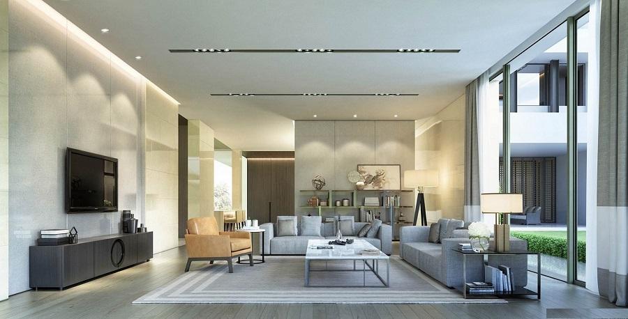 Một góc thoáng đãng và tông màu trắng hiện đại của phòng khách biệt thự
