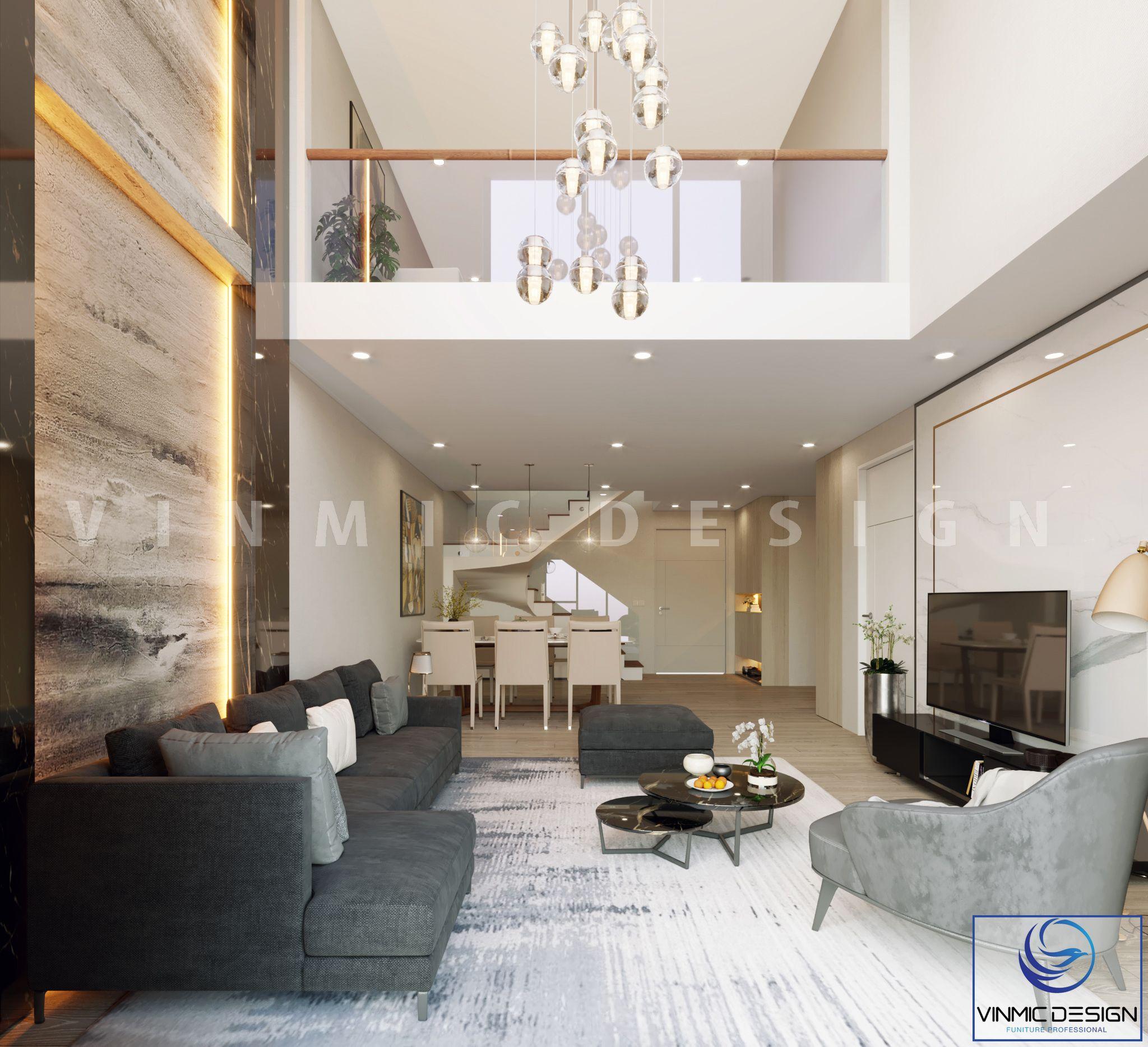 Thiết kế phòng khách biệt thự hiện đại, thoáng đãng