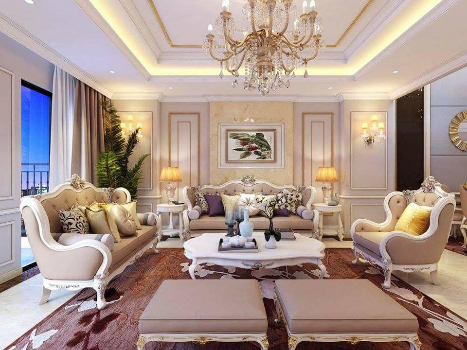 Thiết kế phòng khách biệt thự nổi bật với đèn chùm và bộ sofa