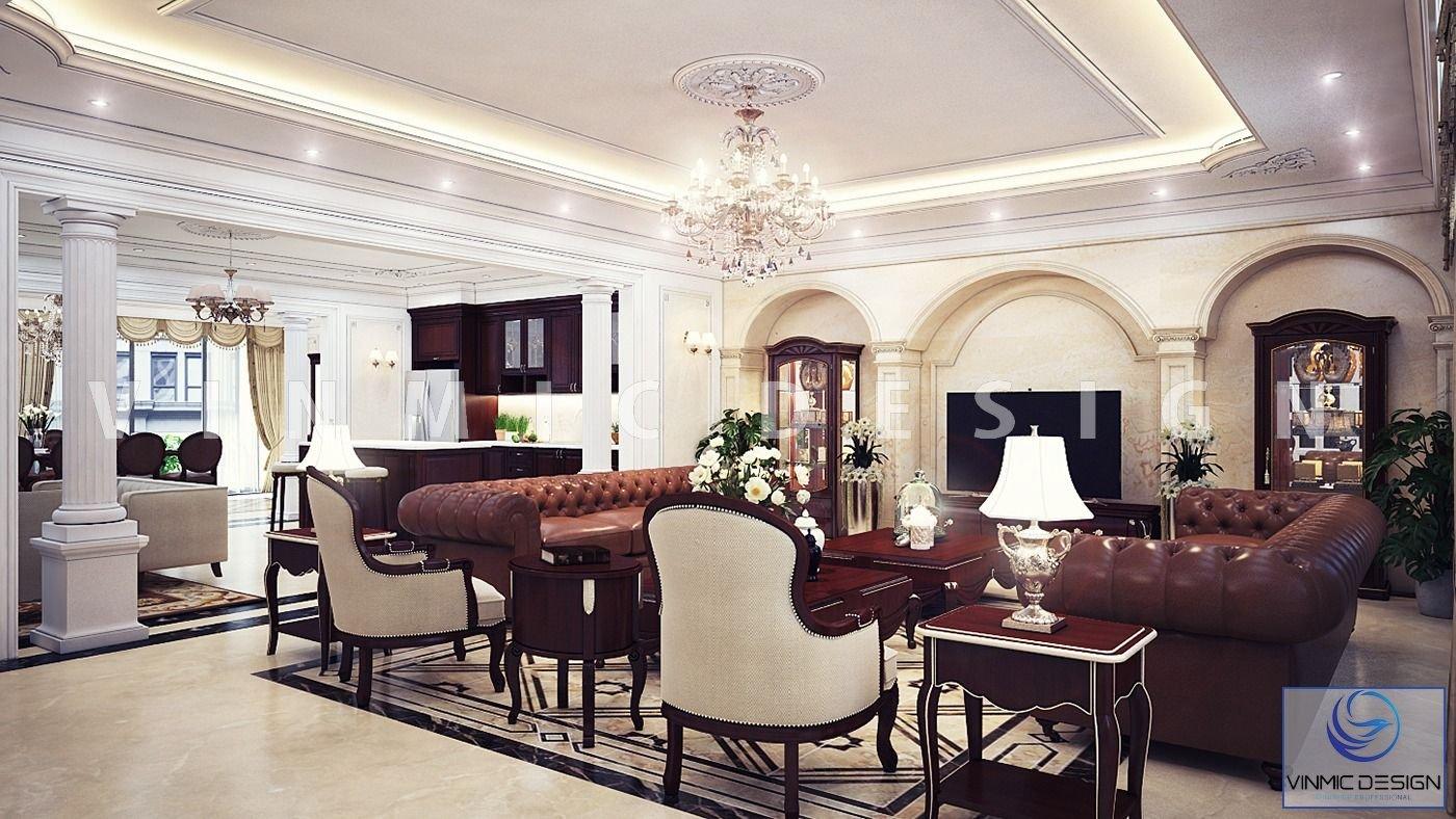 Không gian phòng khách thoáng đãng với những chi tiết phào chỉ đậm chất tân cổ điển