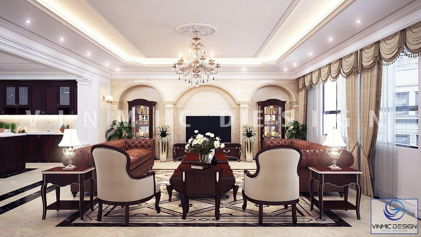 Bộ sofa kèm theo ánh sáng từ đèn chùm, làm nổi bật phòng khách