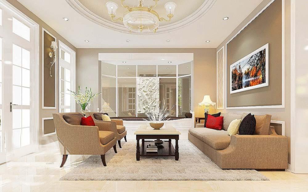 Sự kết hợp với lối thiết kế tân cổ điển và hiện đại của gian phòng khách