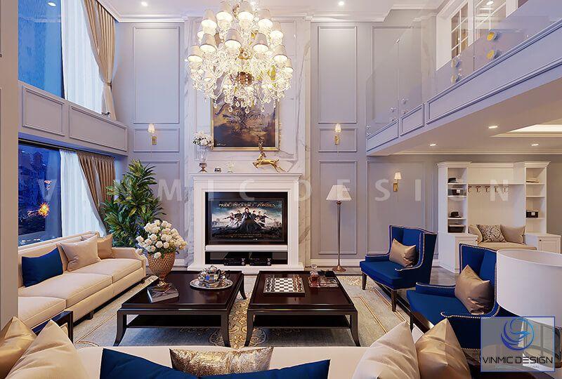 Thiết kế phòng khách biệt thư tân cổ điển, nổi bật bộ sofa nhập khẩu đẳng cấp