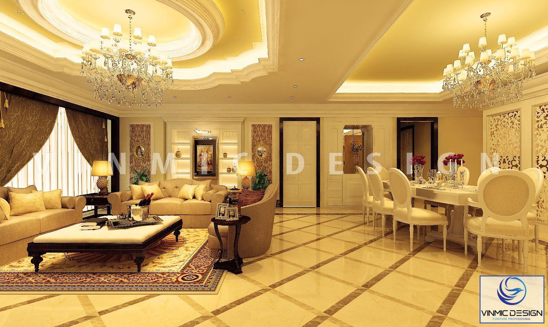 Tông màu vàng ấm tạo nên một không gian phòng khách thượng lưu