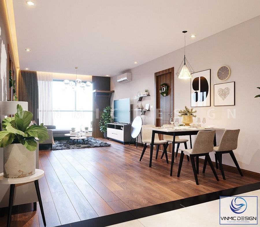 Ánh sáng từ của sổ lớn giúp cho phòng khách chung cư thoáng đãng hơn