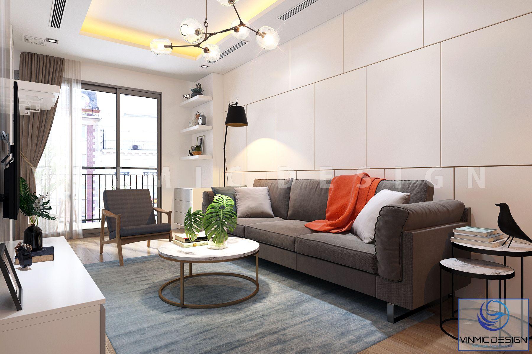 Phòng khách nhỏ, nổi bật bộ sofa bằng nỉ