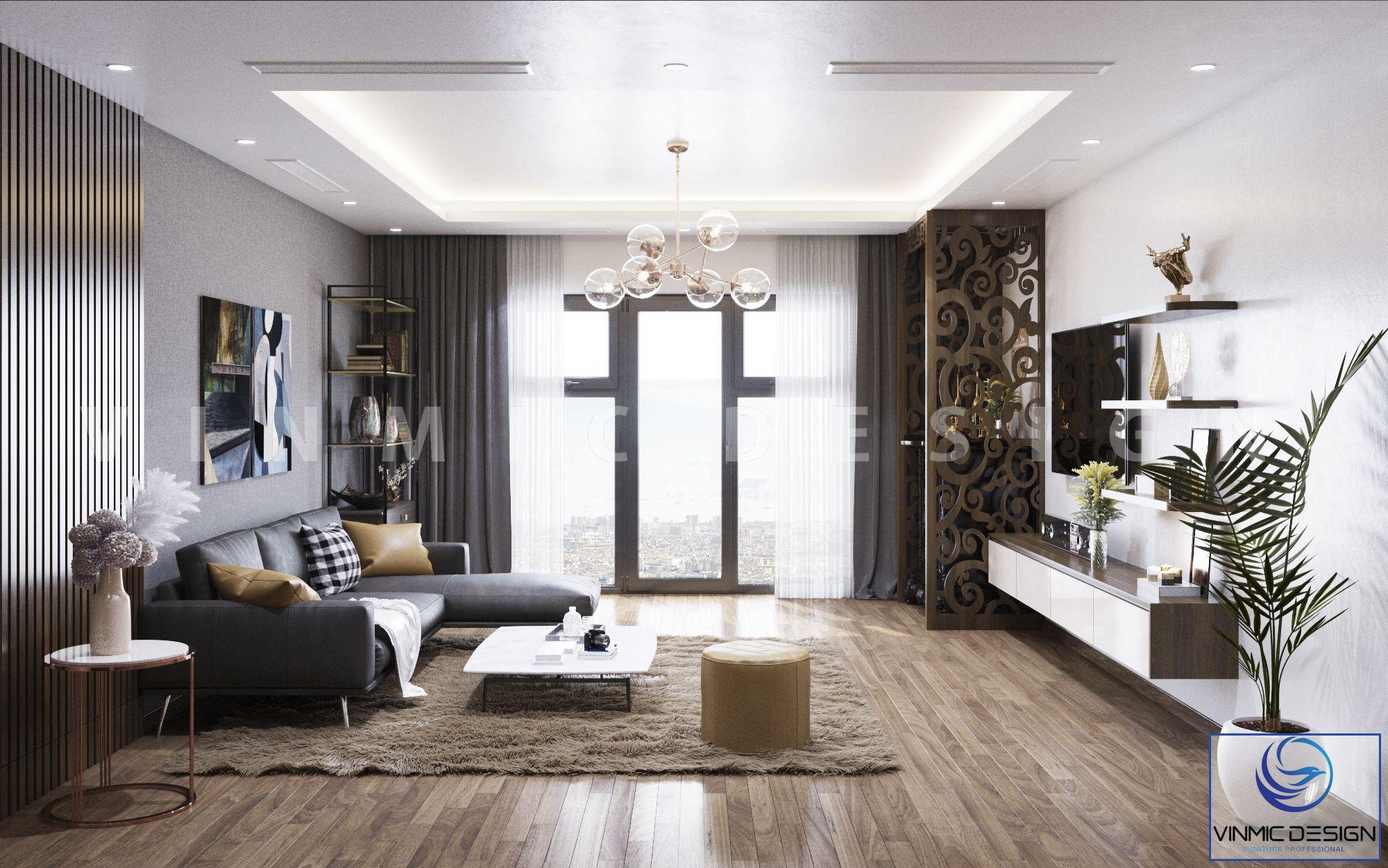 Thiết kế phòng khách chung cư hiện đại đơn giản