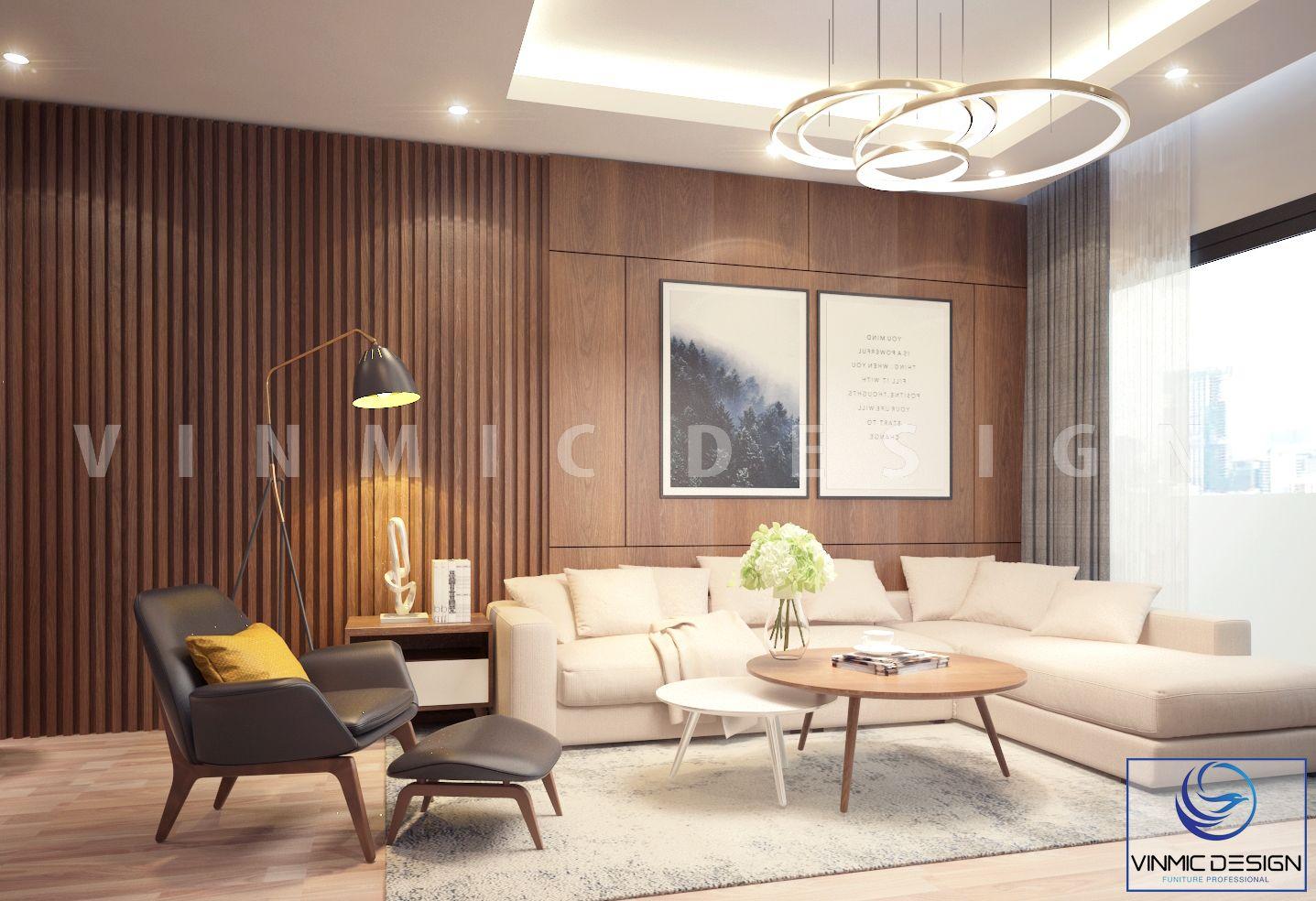 Góc phòng khách nhẹ nhàng, kết hợp đèn và ánh sáng thiên nhiên