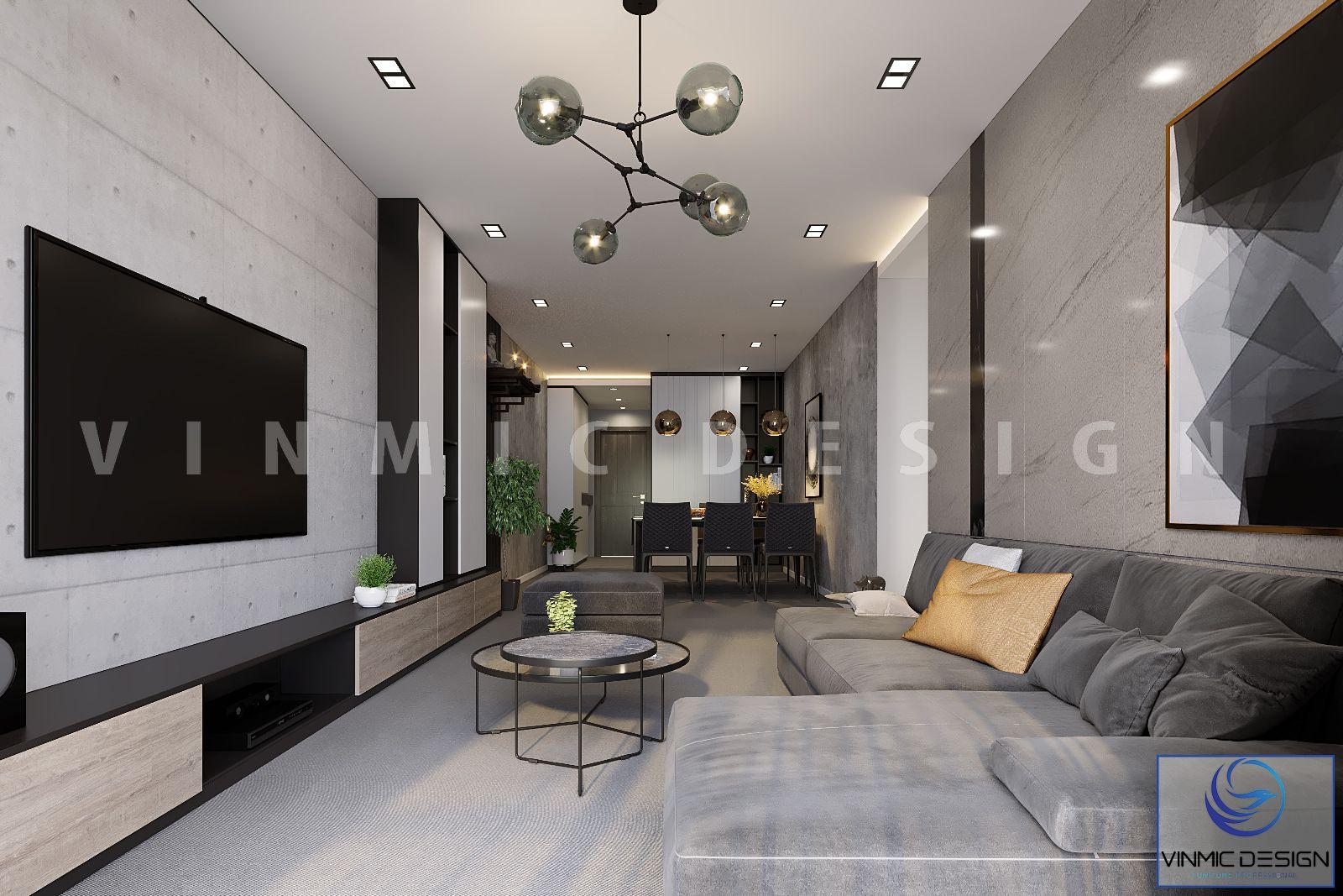 Thiết kế phòng khách-bếp chung cư, tận dụng diện tích