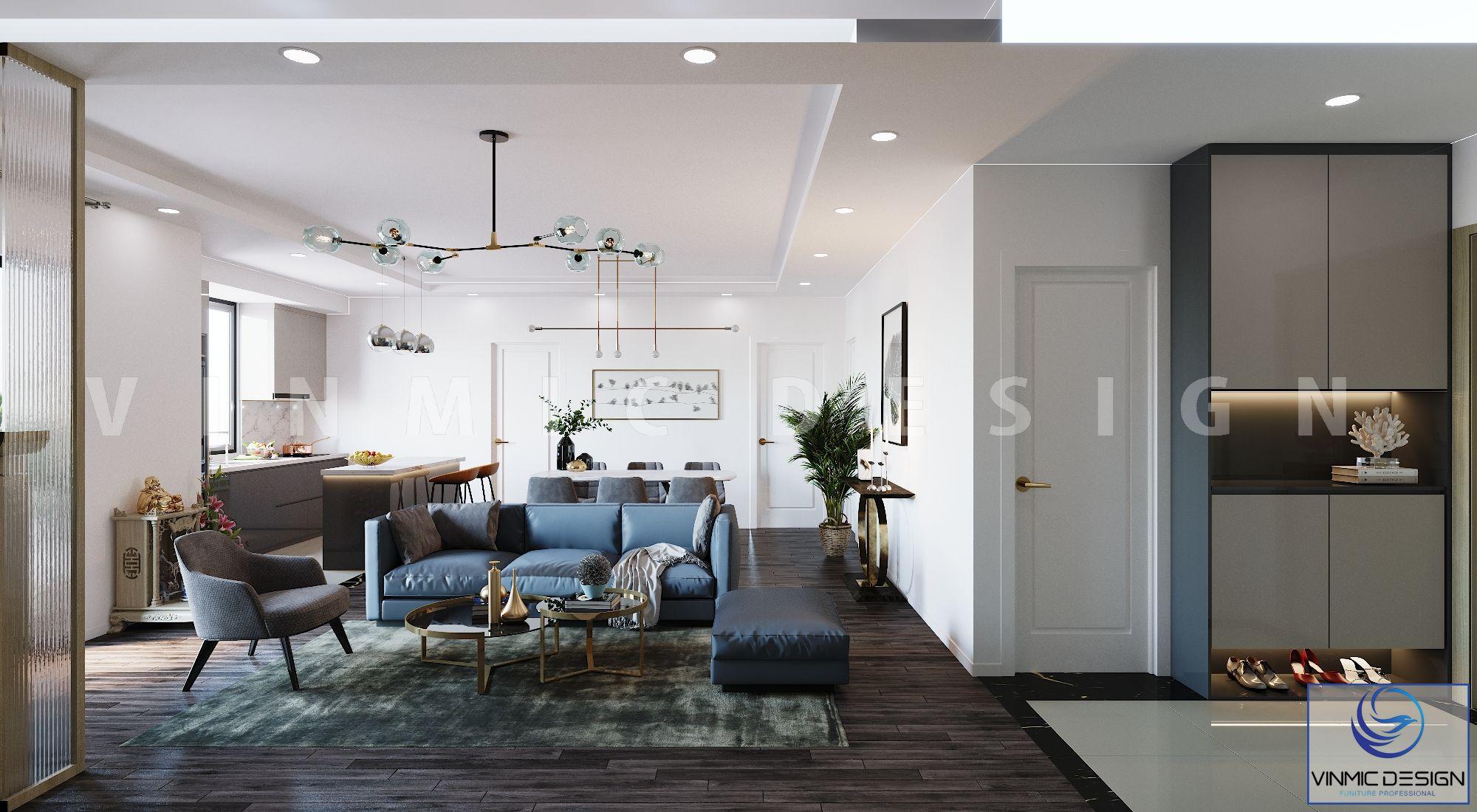 Nổi bật bộ sofa màu xanh cho gian phòng khách