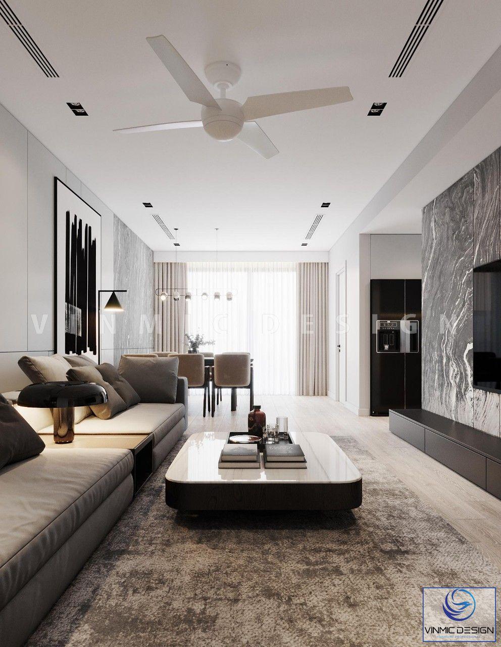 Không gian Phòng khách chung cư hiện đại, thoáng mát