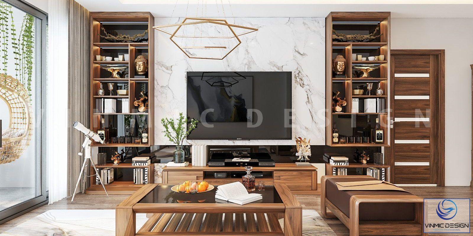 Thiết kế phòng khách chung cư với chất gỗ óc chó tự nhiên