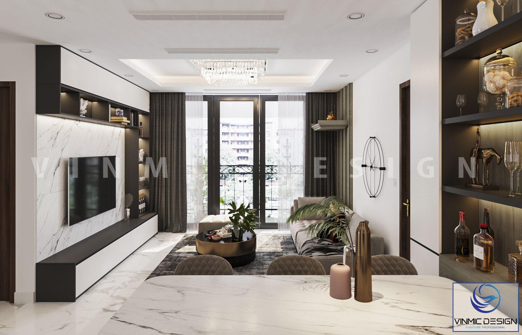 Phòng khách chung cư được thiết kế với bộ tủ rượu ấn tượng