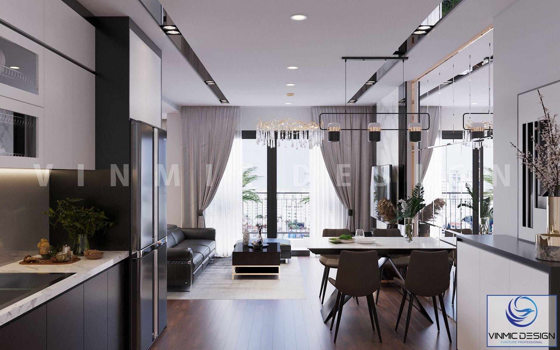 Phòng khách và bếp được thiết kế tiện ích, tận dụng hết công năng căn hộ